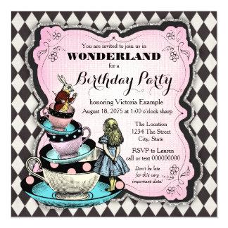 Fiesta de cumpleaños del país de las maravillas invitación 13,3 cm x 13,3cm