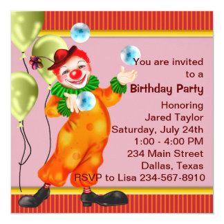 Fiesta de cumpleaños del payaso de circo invitación 13,3 cm x 13,3cm