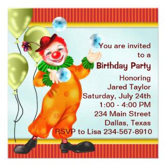 Fiesta de cumpleaños del payaso de circo invitacion personal