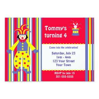 Fiesta de cumpleaños del payaso de circo invitación 12,7 x 17,8 cm