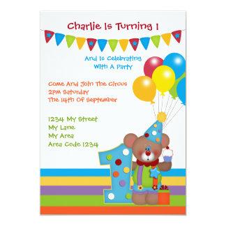 Fiesta de cumpleaños del payaso del oso de peluche invitación 12,7 x 17,8 cm