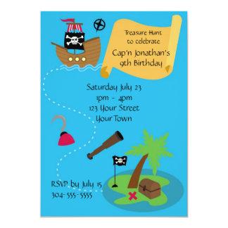Fiesta de cumpleaños del pirata de los niños invitación 12,7 x 17,8 cm