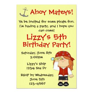 Fiesta de cumpleaños del pirata del chica invitación 12,7 x 17,8 cm
