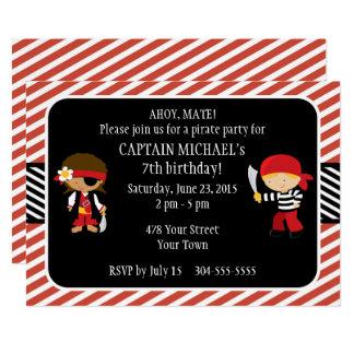 Fiesta de cumpleaños del pirata invitación 12,7 x 17,8 cm