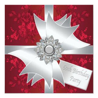 Fiesta de cumpleaños del rosa rojo de la mujer del invitación 13,3 cm x 13,3cm