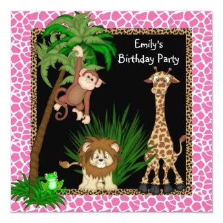 Fiesta de cumpleaños del safari de los chicas invitación 13,3 cm x 13,3cm