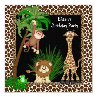 Fiesta de cumpleaños del safari de los muchachos invitación 13,3 cm x 13,3cm