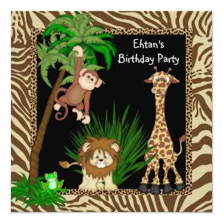Fiesta de cumpleaños del safari de selva de los invitación 13,3 cm x 13,3cm