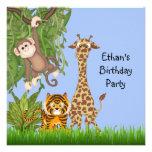 Fiesta de cumpleaños del safari de selva de los mu comunicados personales