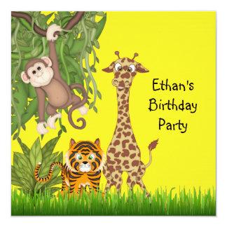 Fiesta de cumpleaños del safari de selva invitación 13,3 cm x 13,3cm