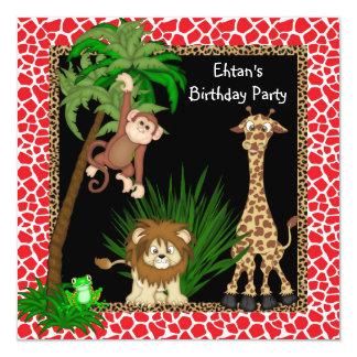 Fiesta de cumpleaños del safari invitación 13,3 cm x 13,3cm