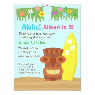 Fiesta de cumpleaños del tema de la playa de invitación 10,8 x 13,9 cm