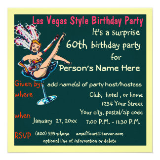 Fiesta de cumpleaños del tema de Las Vegas 60 a Invitaciones Personalizada
