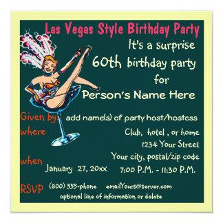 Fiesta de cumpleaños del tema de Las Vegas 60.a Invitación 13,3 Cm X 13,3cm
