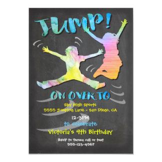 Fiesta de cumpleaños del trampolín para el invitación 12,7 x 17,8 cm