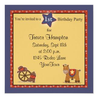 Fiesta de cumpleaños del vaquero o de la vaquera invitación 13,3 cm x 13,3cm