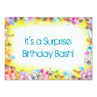 Fiesta de cumpleaños del verano de la sorpresa invitación 11,4 x 15,8 cm