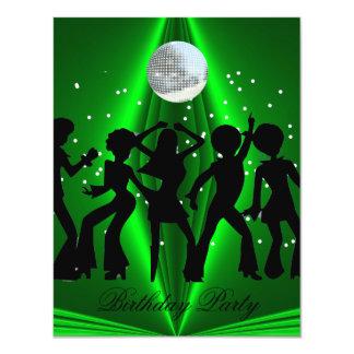 Fiesta de cumpleaños del verde de la danza del invitación 10,8 x 13,9 cm