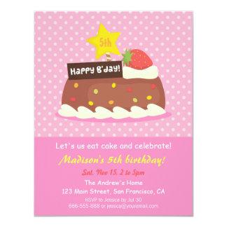 Fiesta de cumpleaños dulce de la torta de invitación 10,8 x 13,9 cm