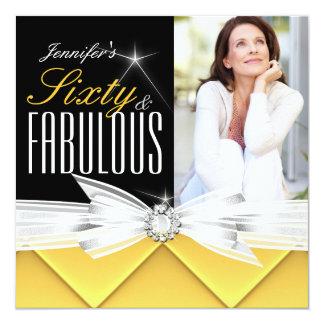 Fiesta de cumpleaños elegante amarilla fabulosa de invitación 13,3 cm x 13,3cm