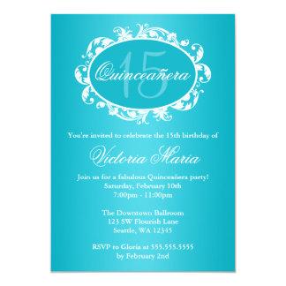 Fiesta de cumpleaños elegante azul de Quinceanera Invitación 12,7 X 17,8 Cm