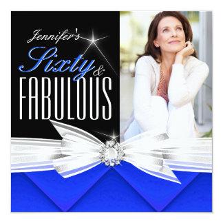 Fiesta de cumpleaños elegante azul fabulosa de 60 invitación 13,3 cm x 13,3cm