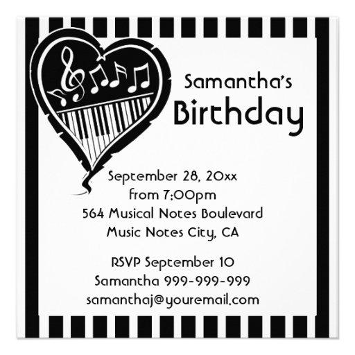Fiesta de cumpleaños elegante de la música del cor invitacion personal
