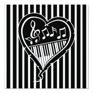 Fiesta de cumpleaños elegante de la música del invitacion personal