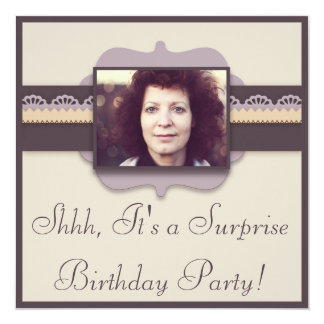 Fiesta de cumpleaños elegante de la sorpresa de la invitación 13,3 cm x 13,3cm