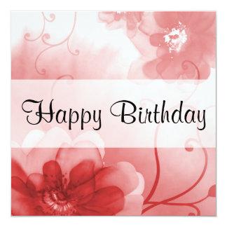 Fiesta de cumpleaños elegante de las flores del invitación 13,3 cm x 13,3cm