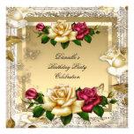 Fiesta de cumpleaños elegante de los rosas rosados invitación
