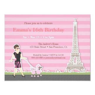 Fiesta de cumpleaños elegante de París de la torre Invitación 10,8 X 13,9 Cm