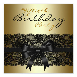 Fiesta de cumpleaños elegante del cordón del negro invitación 13,3 cm x 13,3cm