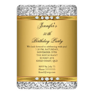 Fiesta de cumpleaños elegante del diamante de la invitación 12,7 x 17,8 cm