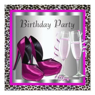 Fiesta de cumpleaños elegante del leopardo de las invitación 13,3 cm x 13,3cm