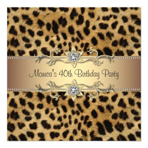 Fiesta de cumpleaños elegante del leopardo anuncio