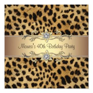 Fiesta de cumpleaños elegante del leopardo invitación 13,3 cm x 13,3cm