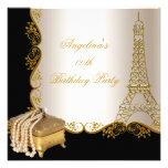 Fiesta de cumpleaños elegante del negro del oro de invitacion personalizada