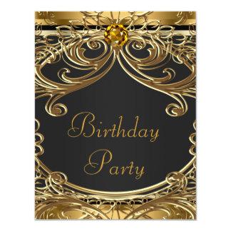Fiesta de cumpleaños elegante del negro y del oro invitación 10,8 x 13,9 cm