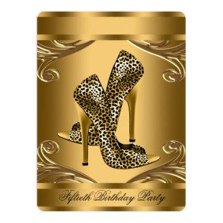 Fiesta de cumpleaños elegante del negro y del oro invitación 16,5 x 22,2 cm