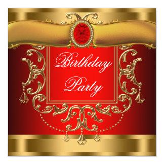 Fiesta de cumpleaños elegante del rojo y del oro invitación 13,3 cm x 13,3cm