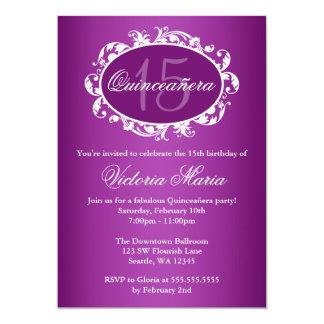 Fiesta de cumpleaños elegante púrpura de invitación 12,7 x 17,8 cm