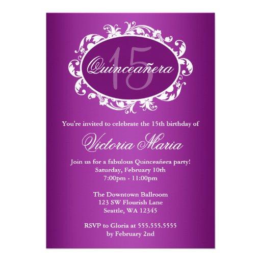 Fiesta de cumpleaños elegante púrpura de Quinceane Comunicados Personalizados