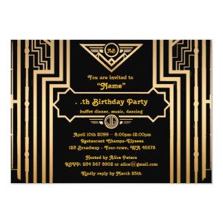 Fiesta de cumpleaños, estilo de Gatsby, art déco, Invitación 12,7 X 17,8 Cm