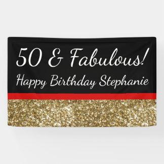 Fiesta de cumpleaños fabulosa del brillo 50.o lona