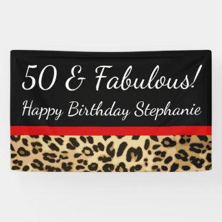Fiesta de cumpleaños fabulosa del leopardo 50.o lona