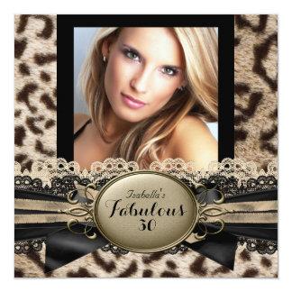 Fiesta de cumpleaños fabulosa del leopardo de invitación 13,3 cm x 13,3cm