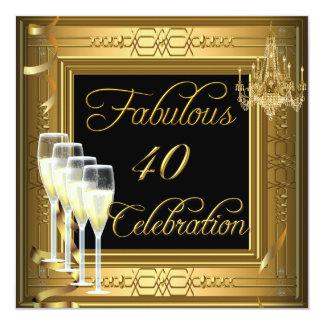 Fiesta de cumpleaños fabulosa del negro del oro de invitación 13,3 cm x 13,3cm