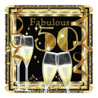 Fiesta de cumpleaños fabulosa del oro de 50 invitación 13,3 cm x 13,3cm