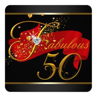 Fiesta de cumpleaños fabulosa roja cincuenta invitación 13,3 cm x 13,3cm